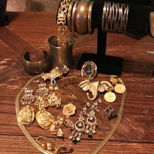 Lot of gold tone jewelry vintage and newer